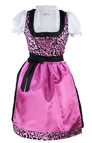 Dirndl Damen Set 3 Teilig Pink Rosa Schwarz Gr 34 36 38 40 42 44 46 48 50 Festliches Midi Dirndl Trachtenkleid mit Satinschürze 3 tlg Oktoberfest