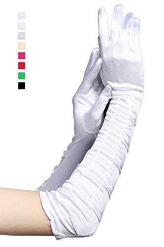 Babeyond Damen Handschuhe Satin Classic Opera Fest Party Audrey Hepburn Handschuhe 1920er Stil Handschuhe Elastisch Erwachsene Größe Ellenbogen bis Handgelenk Länge 52/55cm (Lang Gefaltet 52cm / (Alle Weißen Kostüme)