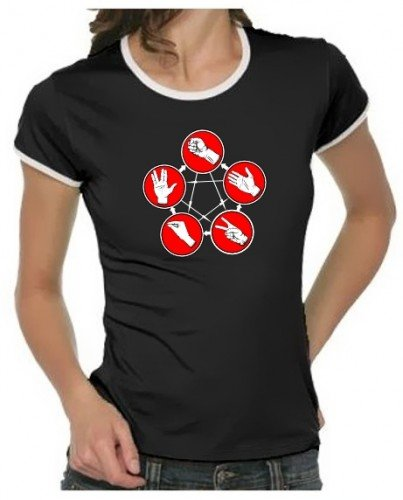 Pierre-ciseaux-lézard-spock de la série bIG bANG tHEORY t-shirt pour homme couleurs assorties-femme-taille - Noir