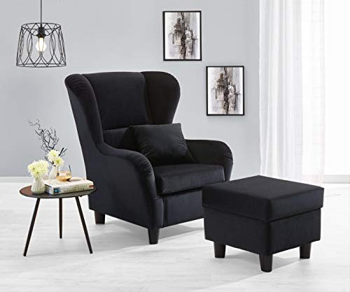 lifestyle4living Ohrensessel mit Hocker in schwarzem Samt bezogen   Der perfekte Sessel für entspannte, Lange Fernseh- und Leseabende. Abschalten und genießen!