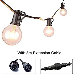 25ft G40 Waterproof Globe Bulbs Patio String Light With 25 Bulbs + 3 Spare Bulbs + 3m Extension Cable, Indoor Outdoor Decorative String Lights For Christmas Cafe Garden Festoon Party Decoration