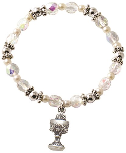 Kathedrale Art sbb114Kommunion und Konfirmation Kristall Bead und Pearl Stretch-Armband mit Kreuz Charm, 2-3/4-Zoll-Durchmesser (Pearl-kreuz-armband)
