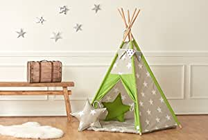 KraftKids Spielzelt Tipi große weiße Sterne auf Beige / weiße Punkte auf Grün inkl. Spielmatte und 2 Sternkissen