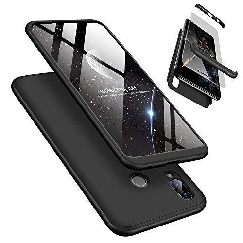 Handyhülle für Huawei Honor Play, LaiXin Huawei Honor Play Hülle mit Tempered Glas Schutzglas 360 Grad Case Schutzhülle PC Plastik Cover Kratzfeste Stoßdämpfende Bumper - Schwarz
