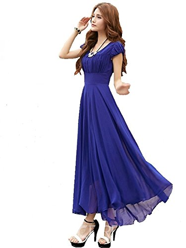Raabta Fashion Women\'s Georgette Dress (Royal Blue Long Dress With Cape Sleeve__Blue_Large)