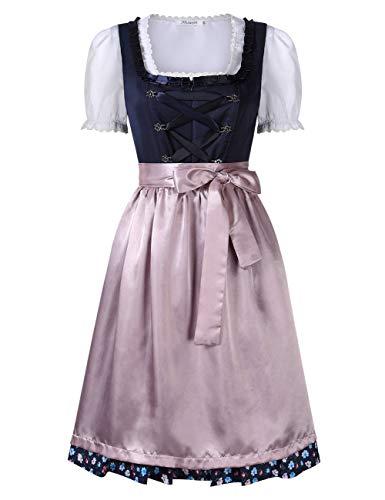 KOJOOIN Trachten Damen Dirndl Kurz/Lang - Midi Trachtenkleid für Oktoberfest - DREI Teilig: Kleid, Bluse, Schürze Dunkel Blau 34/S - 2-teiliges Hemdchen Set