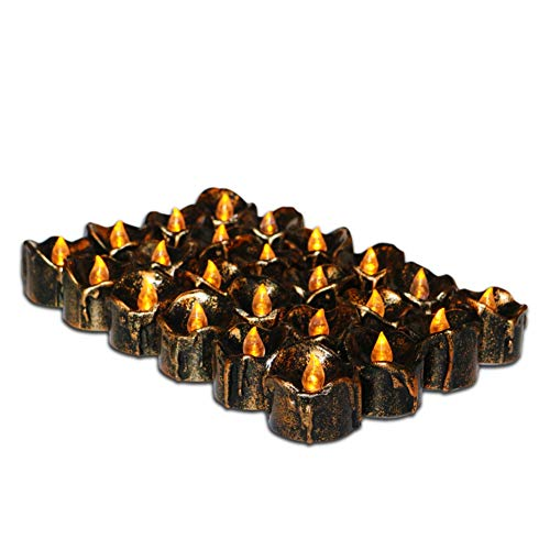 Leezo Kerze Teelicht Flammenlose LED Halloween Lichter für Home Party Dekoration Weihnachten Festival Party Schwarz 12 stücke (Batterie Enthalten)