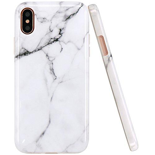 Coque iPhone X, JIAXIUFEN Silicone TPU Étui Housse Souple Antichoc Protecteur Cover Case - Noir Blanc Marbre Désign White