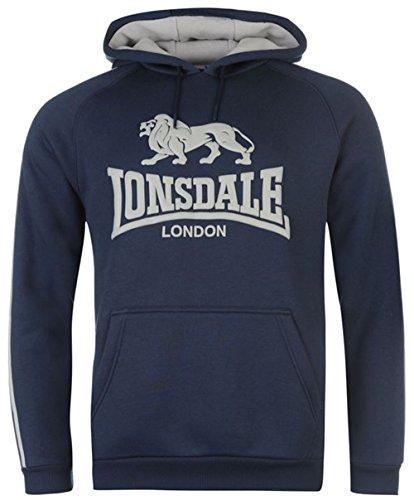 Lonsdale -  Felpa con cappuccio  - Uomo Navy/Grey Marl Medium