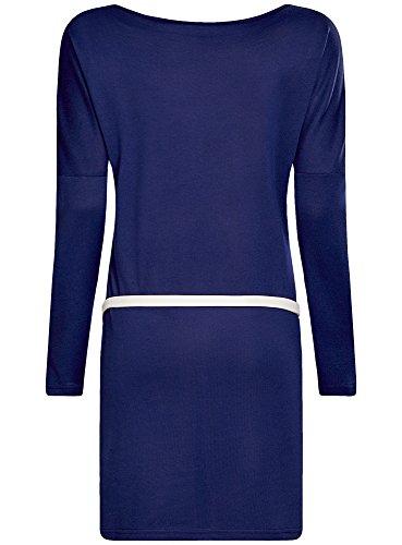 oodji Ultra Femme Robe Maille avec Ceinture Bleu (7500N)