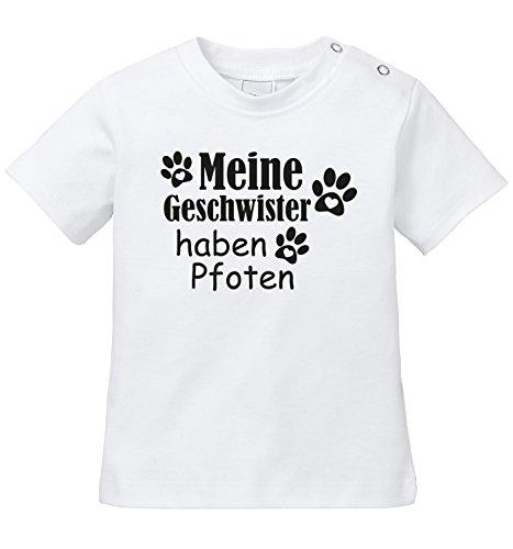 Meine Geschwister haben Pfoten - Niedliche Pfotenabdrücke mit Herz - Bio Baby T-Shirt (Bauernhof, Kleinkind-t-shirt)