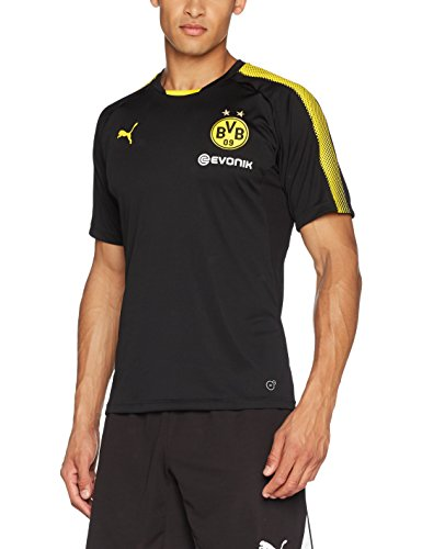 PUMA Herren Bvb Training Jersey with Sponsor Logo T-Shirt, Puma Black-Cyber Yellow, S (Fußball Training Jersey Puma)