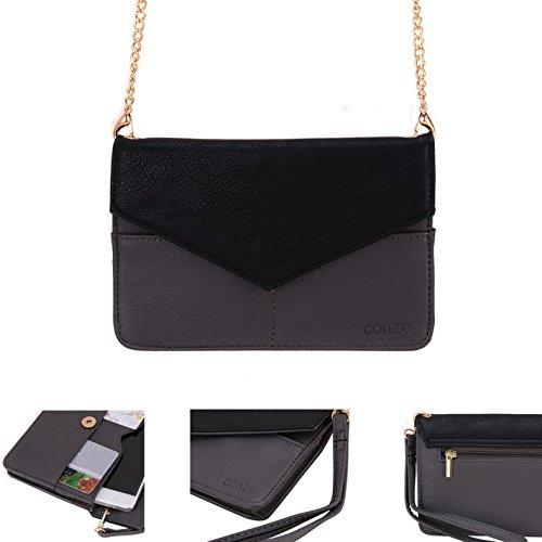 Conze da donna portafoglio tutto borsa con spallacci per Smart Phone per WIKO RAINBOW/Getaway/Lenny Grigio grigio grigio