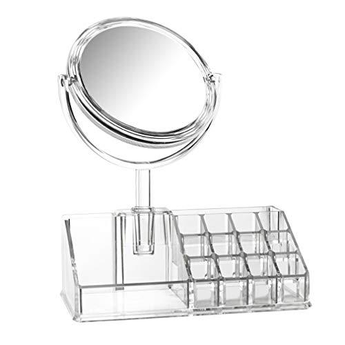 Organisateur de Maquillage, Boîte de Rangement de Maquillage Cosmétique, Boîtier de Cube de Montre de Bijoux Avec Miroir de Maquillage