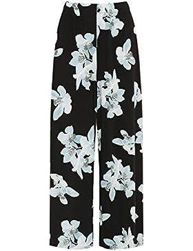 Islander Fashions Womens cintura alta estampado floral Palazzo Ladies tallas grandes pantaln pantaln ancho ES...
