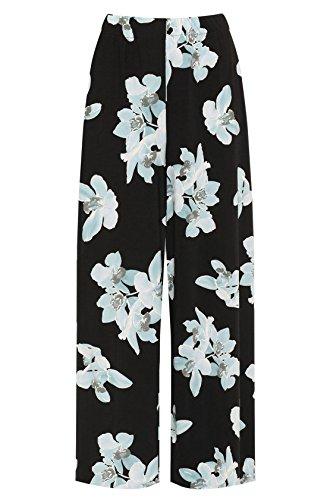 Wide Leg Hohe Taille Hose (Islander Fashions Damen Hohe Taille Floral Printed Palazzo Damen Plus Size Wide Leg Hosen Hose Schwarz Hellgr�n EU 40-42)