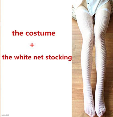 Krankenschwester Flirty Sexy Kostüm - FMN-SEXY, Ultra sexy Flirty Französisch Magd Kostüm Schulmädchen Krankenschwester Kostüm sexy Dessous Frauen Nachtwäsche Kellnerin Uniform (Color : Black with Stock, Size : S)