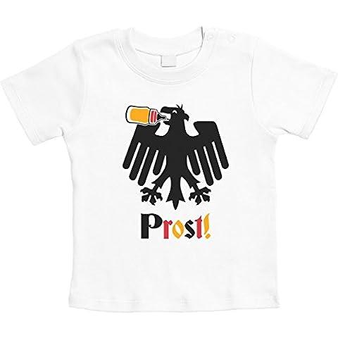Prost Deutscher Adler mit Babyflasche WM 2018 Unisex Baby T-Shirt Gr. 66-93 18-24 Monate / 93 Weiß