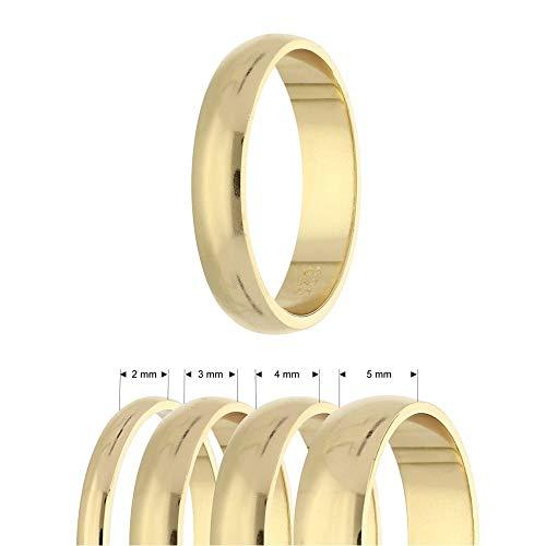 Ring - 925 Silber - Glänzend - 4 Breiten - Gold [20.] - Breite: 3mm - Ringgröße: 56