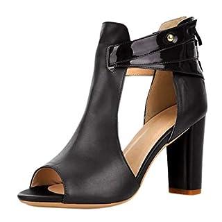 Ansenesna Sandalen Damen 7cm Absatz Keilabsatz Plateau Wedge Peep Toe Elegant Sommerschuhe Hinten Geschlossen Schuhe Für Party Hochzeit (40, Schwarz Leder)