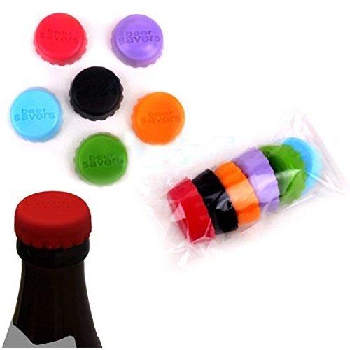 EQLEF® 12 Stück kreative Silikon-Flaschenkapsel-Bier oder Wein-Retter Bunte Silikon-Gummi-Kronkorken