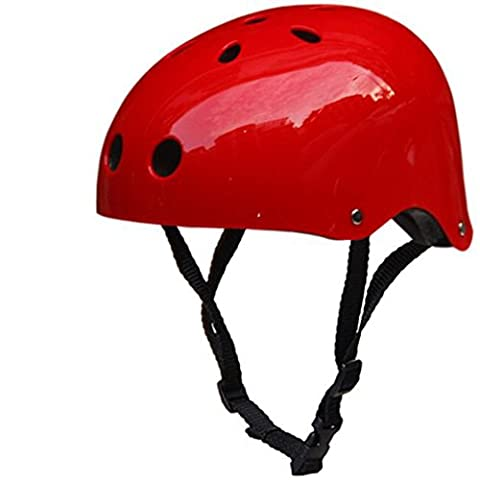 Bike Skate Helmet - Kingwo Adult Kids Skateboard Helmet Impact resistance Ventilation for Multi-sports Cycling Skateboarding Scooter Roller Skate Inline Skating Rollerblading Longboard Two Wheel Electric Board Bike/Skate/Cycling Helmet Driftage Helmets (Bright Red,