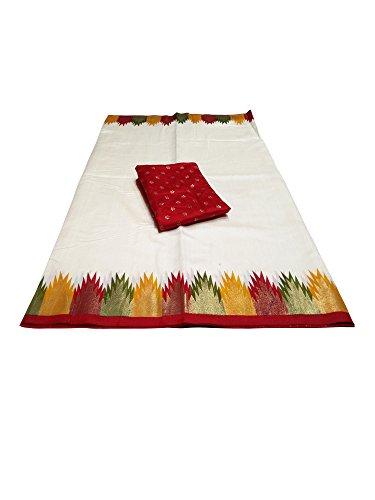 Saree Mall Women's With Blouse Piece Patola Silk Saree (7Pj5009_N2 _Off-White_Free Size)