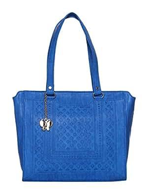 Butterflies Women's Handbag (Blue, BNS 0627BL)