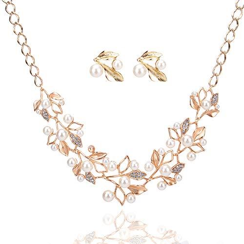 DaoRier Halskette Ohrringe Set, Elegante Perlen-Filialen Anhänger, Damen Schmuck Zubehör Geburtstag Geschenk