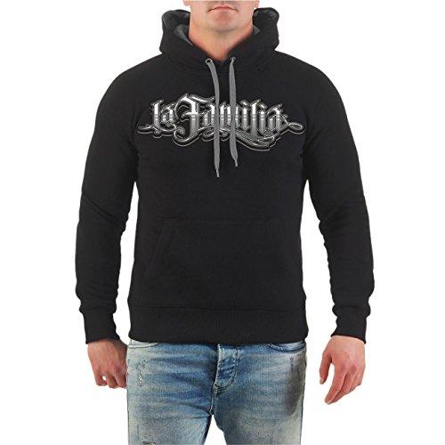 Männer und Herren Kapuzenpullover La Familia Judge Me (mit Rückendruck) Größe S - 8XL schwarz/graue Kapuze