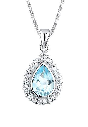 Elli Halskette Damen Edel Tropfen mit Topas und Zirkonia Kristalle in 925 Sterling Silber