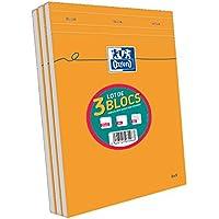 Oxford Lot de 3 Bloc-Notes Orange A4 Agrafé et Non Perforé 160 Pages Petits Carreaux 5x5