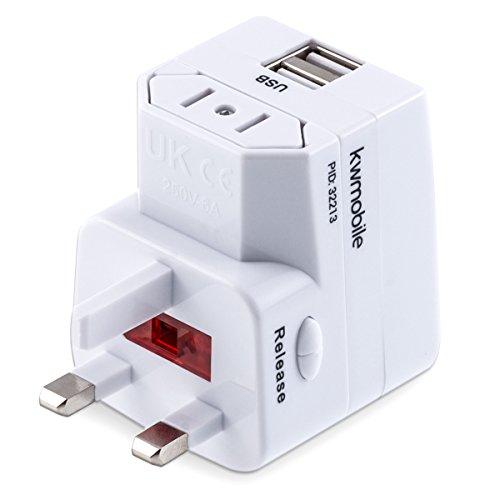 kwmobile Universal Reiseadapter universelle AC Versorgung international in über 150 Ländern mit integriertem USB Ladegerät