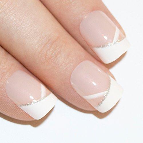 Art bling faux ongles manucure française White Glitter 24 Conseils moyen UK