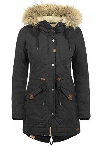 DESIRES Liv Damen Parka lange Jacke Winter-Mantel mit Fell-Kapuze und Teddy-Futter aus hochwertiger Baumwollmischung, Größe:L, Farbe:Black (9000)