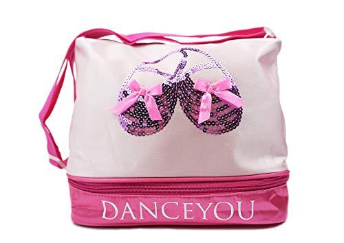 DANCE YOU Tanztasche Balletttasche Sporttasche Umhängetasche Trainingstasche Schultertasche Handtasche für Mädchen Pink