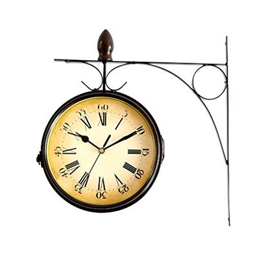 Biback Reloj de Pared Creativo clásico Relojes, Vendimia Innovador Casa Reloj de Pared Reloj de Doble Lado