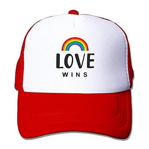Hoswee Unisex Kappe/Baseballkappe, Love Wins Men Women Classic Mesh Back Trucker Hats Air Mesh Polyester Cap -