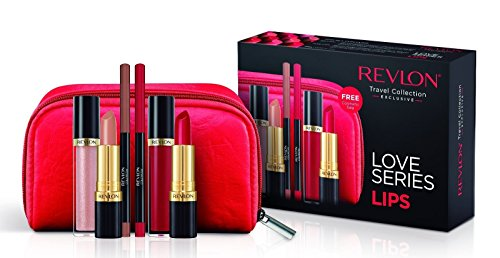 Revlon Love Series Lips Gift Set- Lipsticks, Lipgloss, Lipliner and Makeup Bag