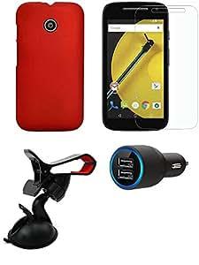 NIROSHA Tempered Glass Screen Guard Cover Case Car Charger Mobile Holder for Motorola E2 - Combo