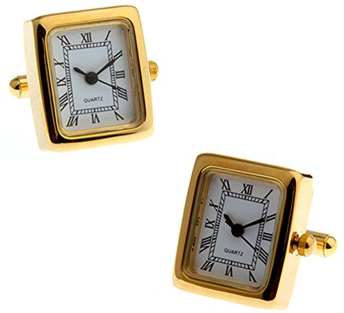 Arbeits Gold überzogenes Uhr Manschettenknöpfe in einer luxuriösen Präsentationsbox. Neuheit. Zeit. Sehen. Spaß. Thema Schmuck