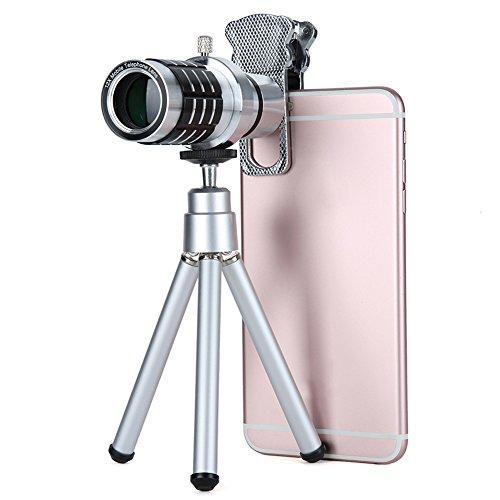 aizbo® Universel 12x Téléobjectif Objectif télescope monoculaire zoom optique externe à clipser Kit Objectif Appareil Photo de téléphone avec chat, clip pour Trépied pour iPhone, Samsung Galaxy, LG, HTC, Moto, Nexus, Sony et plus