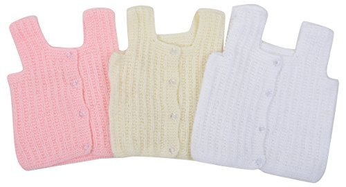 Kuchipoo Unisex Regular Fit Hand Knitted Woollen Vest (Pack of 3)(KUC-INN-903_White Cream & Pink_3-6 Months)