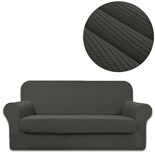 3-teiliges Leder-bett (ANJUREN Sofa-Schonbezug für Sessel und Sessel, gestreift, Jacquard-Polyester-Spandex, Wohnzimmer, Couch Möbel, Stretch, Anti-Falten-Rutsch-Bezug, Schutz XL Sofa grau)
