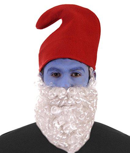 1980s Papa Gnome Roter Hut weiß Bart Kostüm Weihnachten Zubehör ()