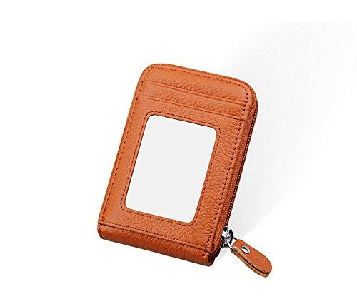 Daimay Echtleder Kreditkarteninhaber RFID Travel Zipper Geldbörse Frauen RFID-Blocking Leder Geldbörse Zip-Around-Sicherheitsmappe - Braun - 12 Kartensteckplätze -