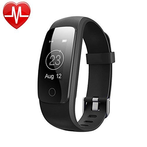 AsiaLONG Fitness Armband mit Pulsmesser, Fitness Tracker Aktivitätstracker Bluetooth Schrittzähler Armband mit Herzfrequenz/ Schlafanalyse/ Kalorienzähler/ SMS SNS Vibration/ Wetter Push/ Stoppuhr für iOS und Android Handy (SW331)