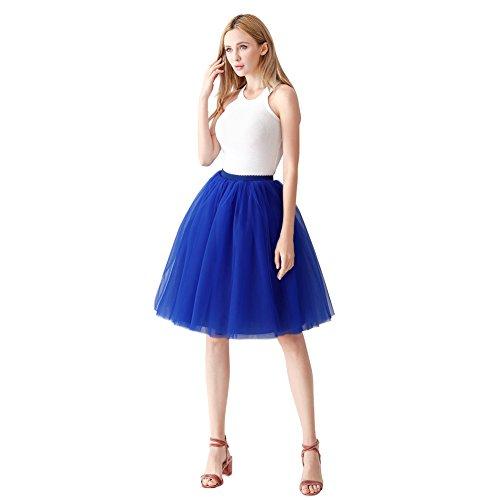 ShowYeu Damen Mid Calf Petticoat A-Linie Tutu Tüllrock Party Abschlussball Jupe Saias Brautjungfernkleid Royal Blau
