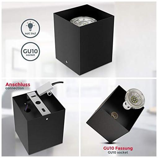 Faretto da soffitto, attacco per lampadina GU10 non inclusa, Lampada da soffitto quadrata 8x8x9.5cm, metallo colore nero, Plafoniera per cucina, entrata, corridoio, scale 230V IP20