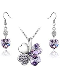 Swarovski Elements Purple Crystal Four Leaf Clover Love Heart Set Pendant Necklace and Earrings